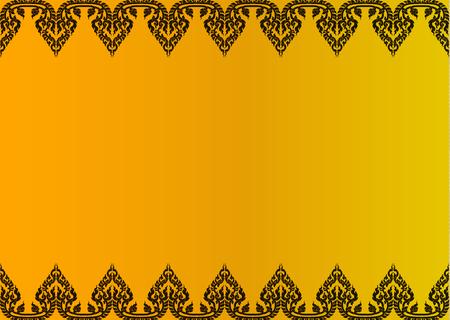 Thai golden vintage pattern vector abstract background frame Illustration