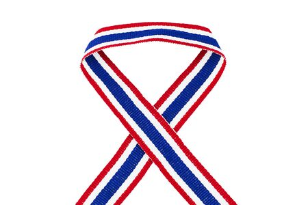 white fabric texture: Thai national color ribbon isolated on white background