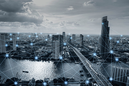 Black and white smart city with network connections, communication technology concept