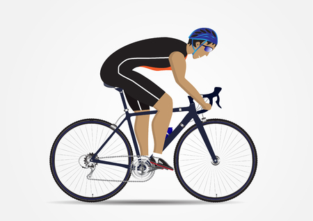 Sportsman cycling on white background, vector illustration Illustration