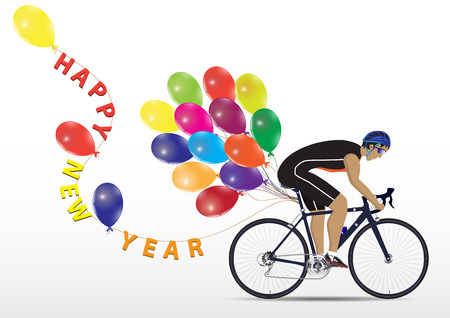 Sportsman cycling with balloons and letter Happy New Year on white background