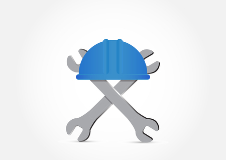 Blue hard hat and wrench on white background,Labor Day concept illustration