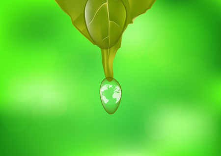 Planet earth in water drop, environmental concept vector illustration Illustration
