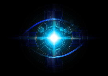 Illustrazione futuristica di vettore di concetto di tecnologia di rilevamento dell'occhio