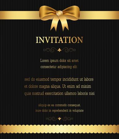 Golden ribbon border invitation, greeting,celebration,congratulations card abstract background vector illustration Illustration