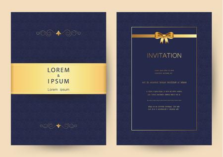 Luxury golden vintage wedding, invitation, celebration,greeting,congratulations cards vector pattern background template Illustration