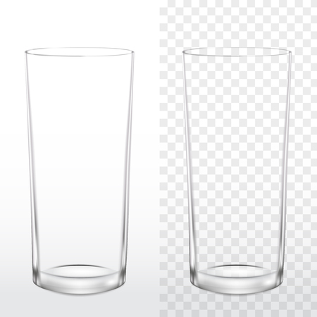 Realistic blank drinking glass on white and transparent background, vector illustration 3d Фото со стока - 126328062