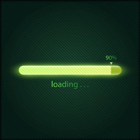 Illustrazione di vettore della barra di caricamento di avanzamento verde, concetto di tecnologia