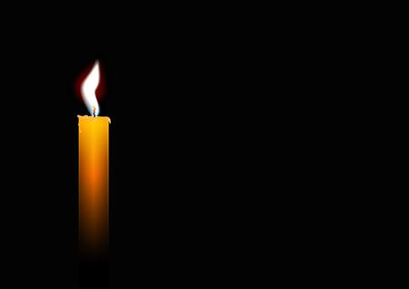 Burning yellow candle on black background, vector illustration Vettoriali