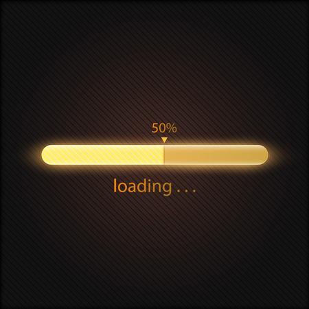 Illustrazione vettoriale della barra di caricamento di avanzamento giallo arancione, concetto di tecnologia Vettoriali