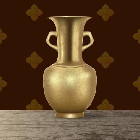 Realistic 3d antique vintage retro grunge brass pitcher on wooden desk on vintage background vector illustration