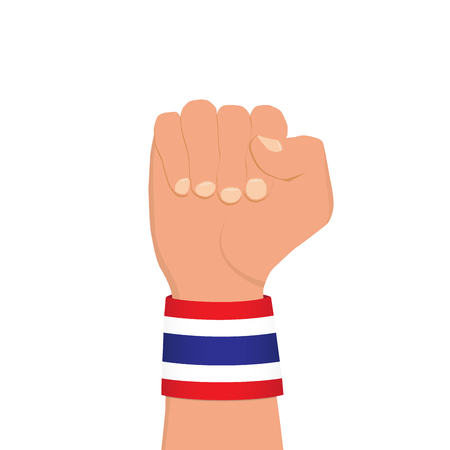 Thai national flag wristband on clenched fist on white background, vector illustration