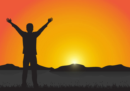 Silhouette of man with arms up with cheerful on golden sunrise background, successful life concept vector illustration Vettoriali