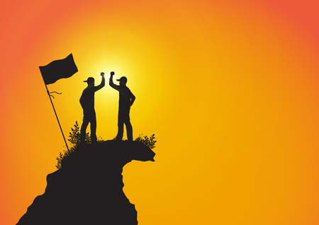Silhouette of two young men standing on top of the mountain with fist raised up with flag on golden sunrise background, success, achievement and winning concept vector illustration