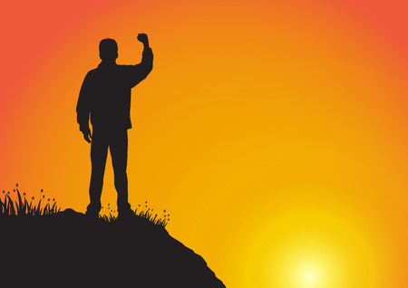 Silhouette of young man standing on the cliff with fist raised up on golden sunrise background, successful, achievement and winning concept vector illustration