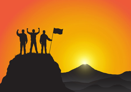 Silhouette of three young men standing on top of the mountain with fists raised up and holding flag on golden sunrise background, success, achievement,victory and winning concept vector illustration Vettoriali