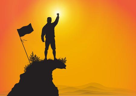 Silhouette de jeune homme debout au sommet de la montagne avec le poing levé avec le drapeau sur fond de lever de soleil doré, succès, réalisation et concept gagnant illustration vectorielle Vecteurs