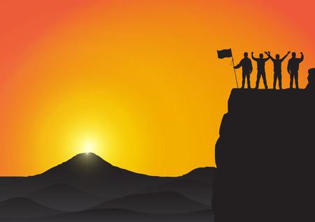 Silhouette of young men standing on top of the mountain with fists raised up and holding flag on golden sunrise background, success, achievement,victory and winning concept vector illustration