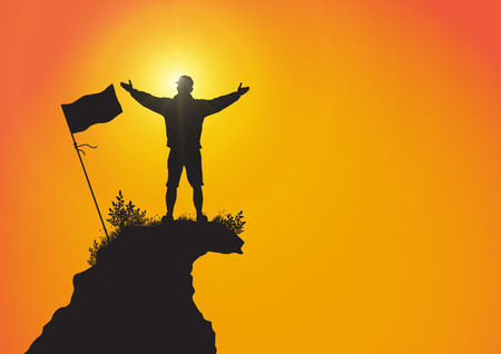 Silhouette of young man standing on top of the mountain with hands up with flag on golden sunrise background, success, achievement and winning concept vector illustration Illustration