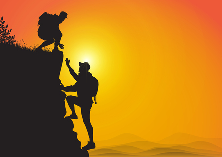 Silhouette of two people hiking climbing mountain and helping each other on golden sunrise background, helping hand and assistance concept vector illustration 일러스트