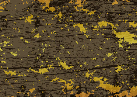 Gold gild scuffed on vintage grunge wooden texture abstract background vector illustration Çizim