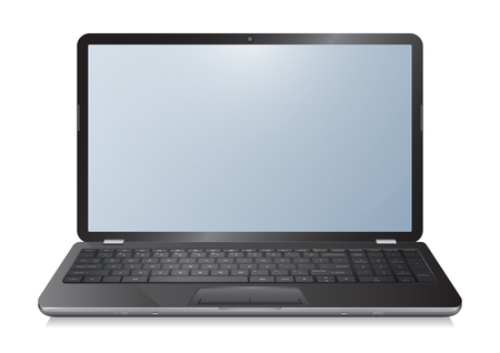 Realistic 3d laptop computer notebook with empty screen on white background vector illustration