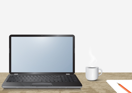 Realistic 3d laptop notebook computer on vintage wooden desk with hot coffee cup vector illustration
