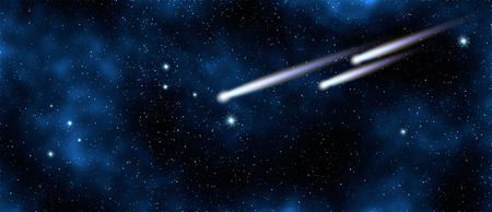 Comet in starry sky in galaxy, elements of this image furnished by NASA, space background