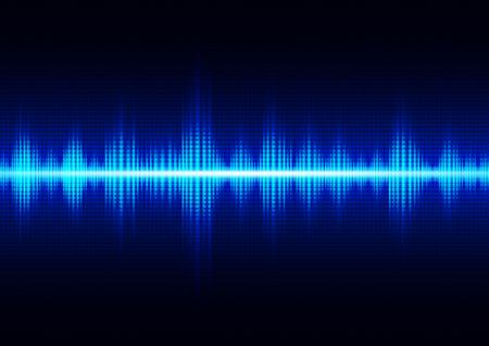 Onde sonore numérique bleu foncé brillant, illustration vectorielle de technologie abstrait