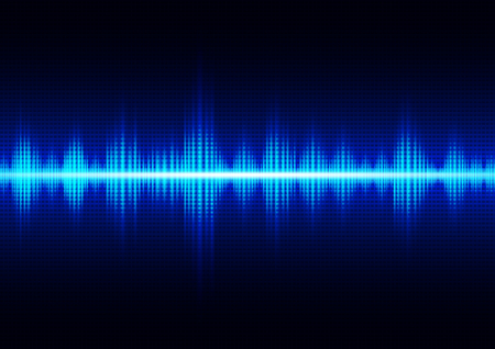 Glowing dark blue digital sound wave, technology abstract background vector illustration