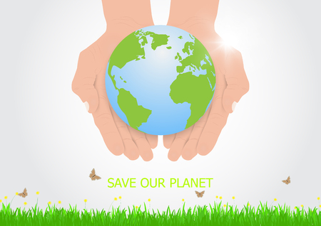 Hands holding earth with care, environmental concept vector illustration