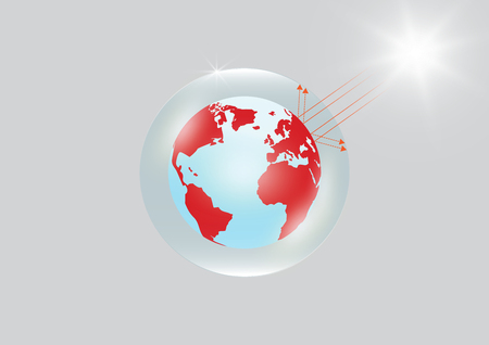 Earth trapped in transparent glass greenhouse with strong sunlight, environmental greenhouse effect concept vector illustration