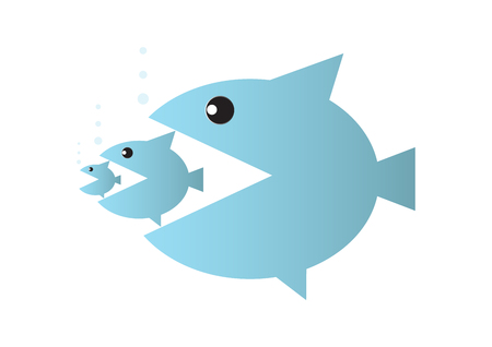 Big fish eats small fish, food chain or takeover business concept vector illustration