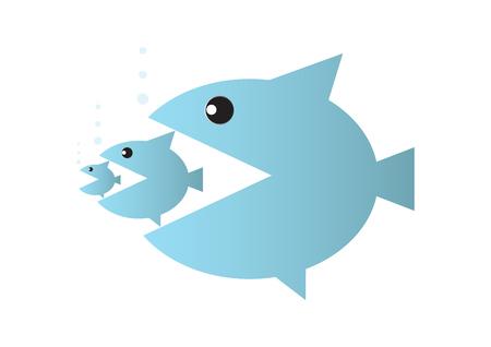Big fish eats small fish, food chain or takeover business concept vector illustration Ilustração Vetorial