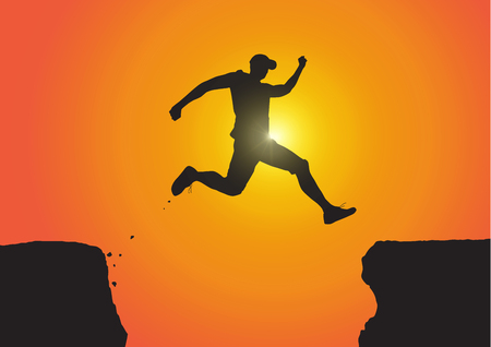 Silhouette of man jumping over the cliffs on golden sunrise background, achievement, success and winning concept vector illustration Vectores