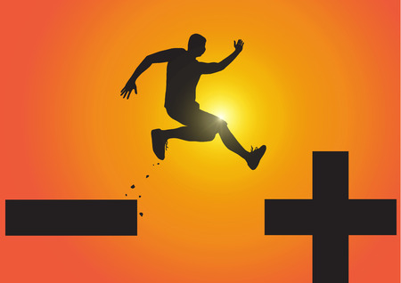 Silhouette of man jumping from minus sign to plus sign on golden sunrise background, pessimistic to optimistic concept vector illustration Illustration