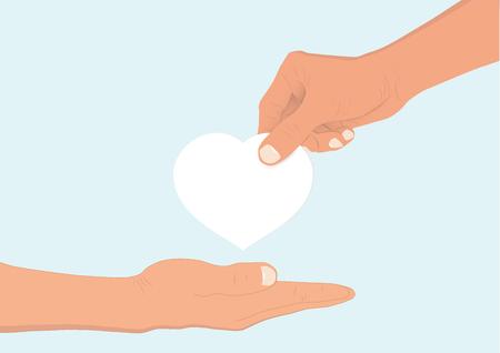 Hand, die einer anderen Hand weißes Herz gibt, Konzeptvektorillustration hilft und hofft