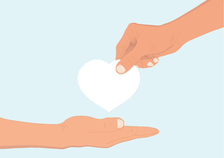 Hand giving white heart to another hand, helping and hope concept vector illustration Stock Illustratie
