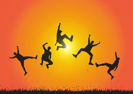 Silhouette of friends jumping over meadow on golden sunrise background, happy life, winning and achievement concept vector illustration