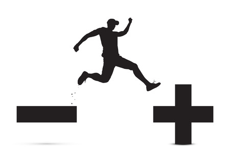 Black and white of man jumping from minus sign to plus sign, pessimistic to optimistic concept vector illustration