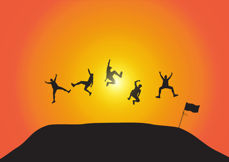 Silhouette of friends jumping over hill on golden sunrise background, happy life, winning, successful and achievement concept vector illustration