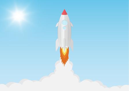 Rocket launch on blue sky background with sunlight, business start up new project concept vector illustration Ilustração