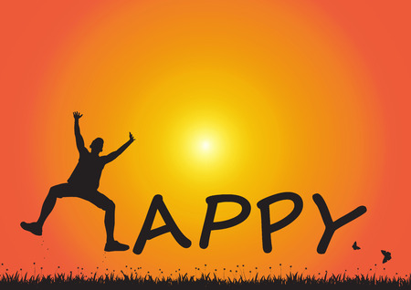 Silhouette of man jumping over meadow on golden sunrise background, happy lifestyle concept
