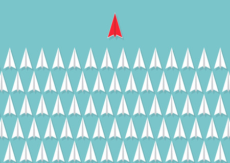 Red paper plane heading of white planes, business leadership concept vector illustration