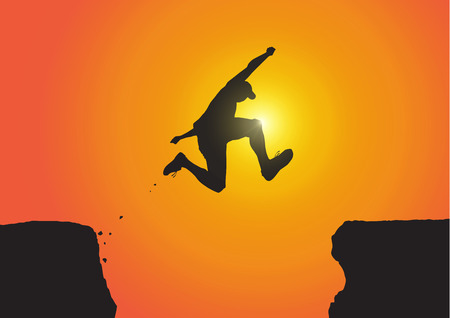 Silhouette of man jumping over the cliffs on golden sunrise background, achievement, success and winning concept vector illustration Vettoriali