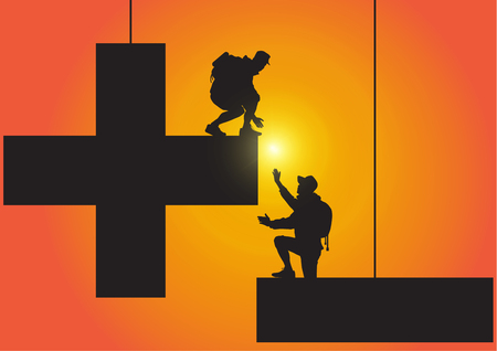 Silhouette of two people climbing from minus sign to plus sign on golden sunrise background, helping hand and assistance concept vector illustration