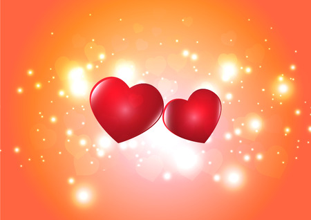 Two red hearts on blurred glittering orange bokeh background vector illustration