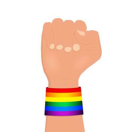 Clenched fist wearing rainbow colored lgbt wristband vector illustration