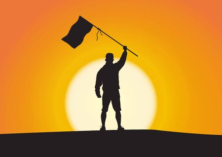 Silhouette of young man standing with hand up holding flag on sunrise background, successful, achievement and winning concept vector illustration Vector Illustration