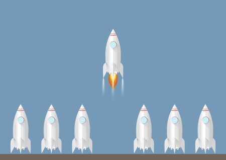 One rocket launching amongst the others. Start up and  leadership business concept vector illustration